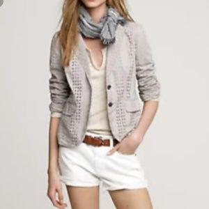 J Crew Womens Blazer Cotton Beige Eyelet Size 6